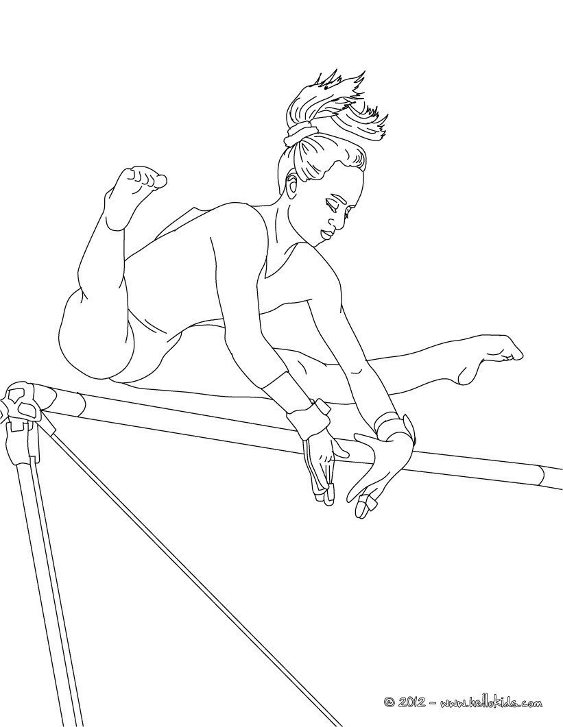 Uneven horse artistic gymnastics coloring pages