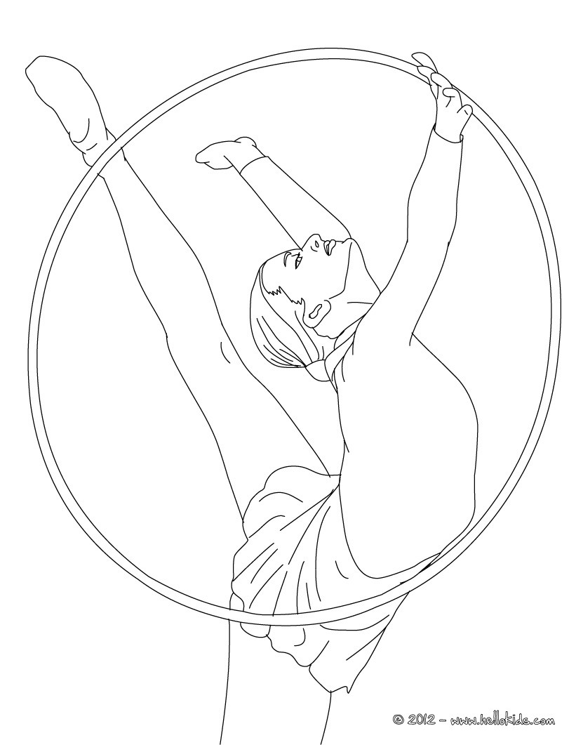 Hoop individual all around rythmic gymnastics coloring