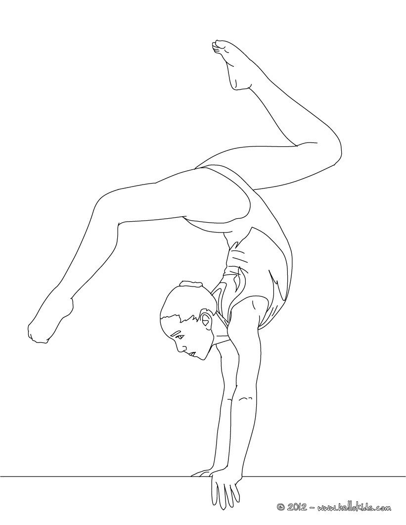Balance beam artistic gymnastics coloring pages