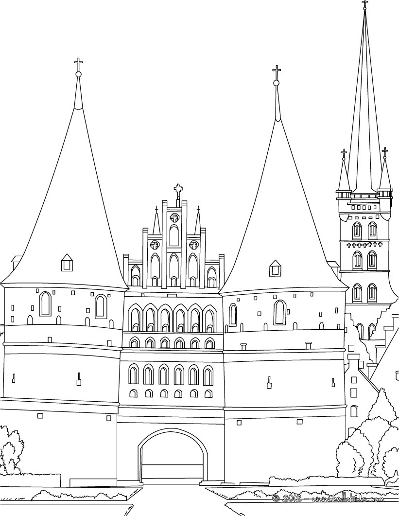 Medieval holstentor gate of lubeck coloring pages