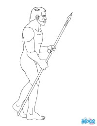 Homo erectus with a spear coloring pages - Hellokids.com