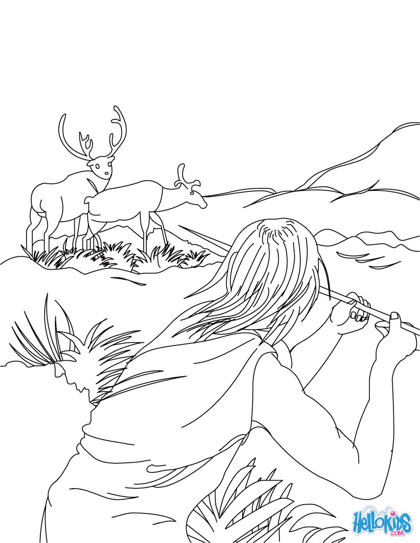 Homo sapiens hunting with a propeller coloring pages