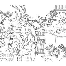 Mermaids' party under the sea free barbie coloring pages