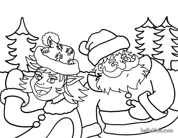 Christmas elve and saint nicholas coloring pages