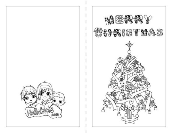 christmas card coloring pages # 1