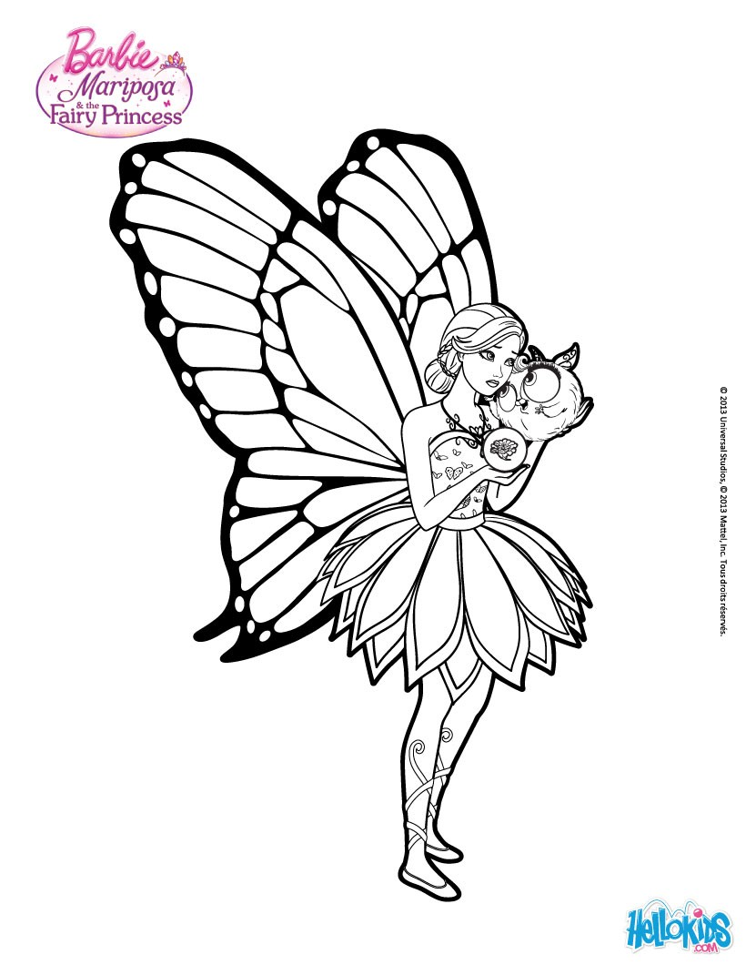 Barbie Butterfly Coloring Pages