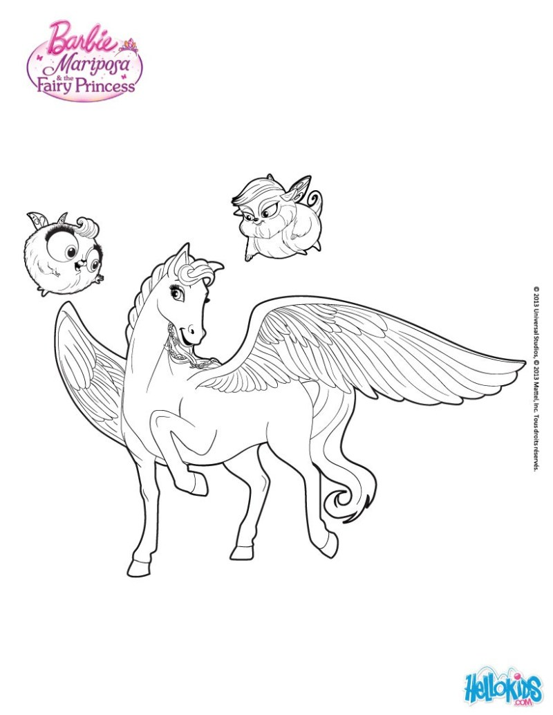 Barbie Printable Pegasus Coloring Pages Free Online Games Drawing For Kids
