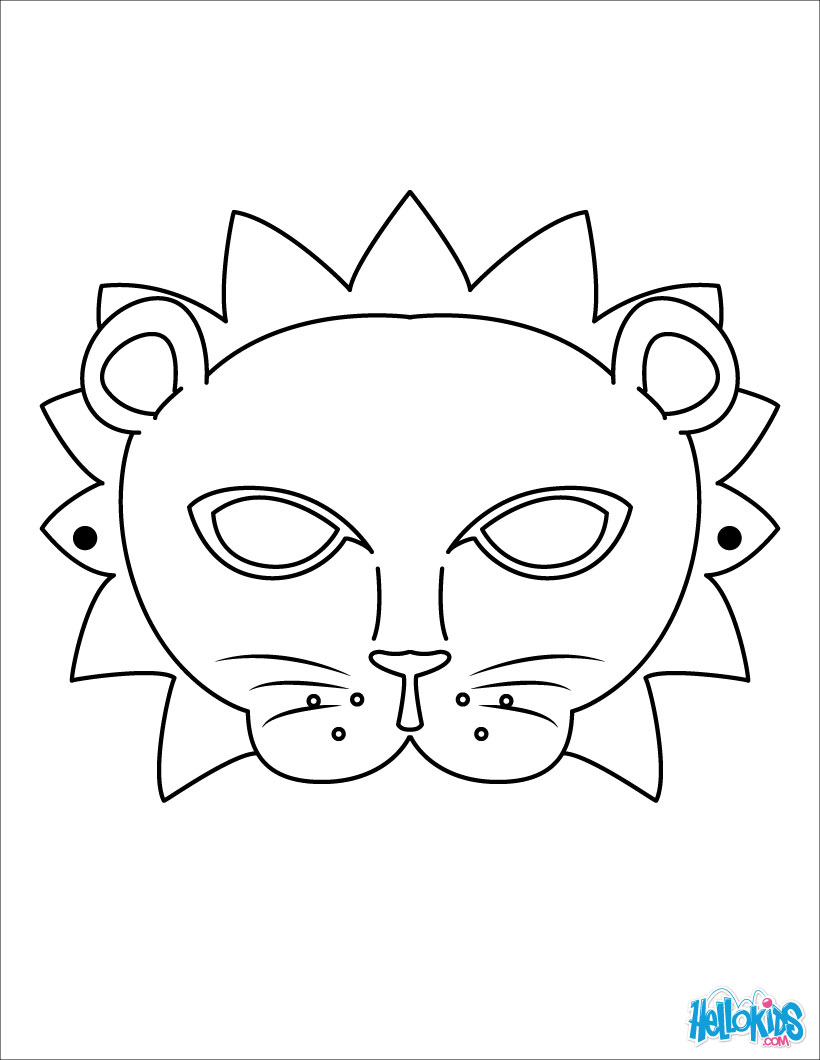 Coloring Animal Face Mask Coloring Pages