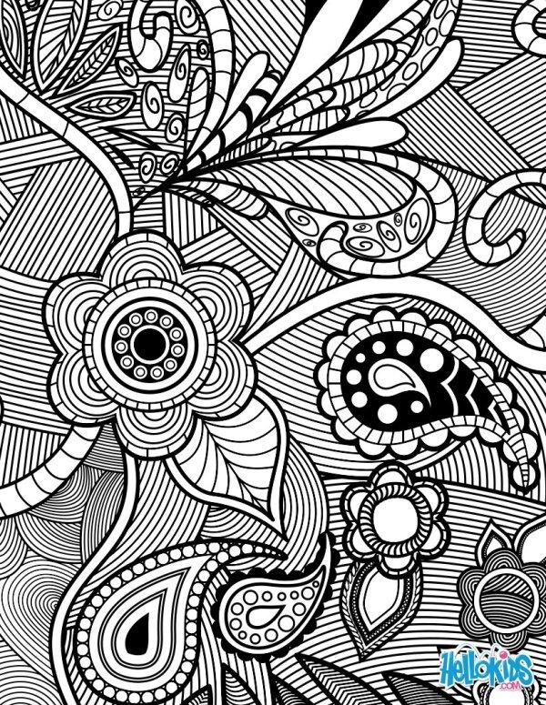 flowers & paisley design coloring