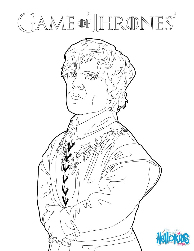 Game of thrones : tyrion lannister coloring pages