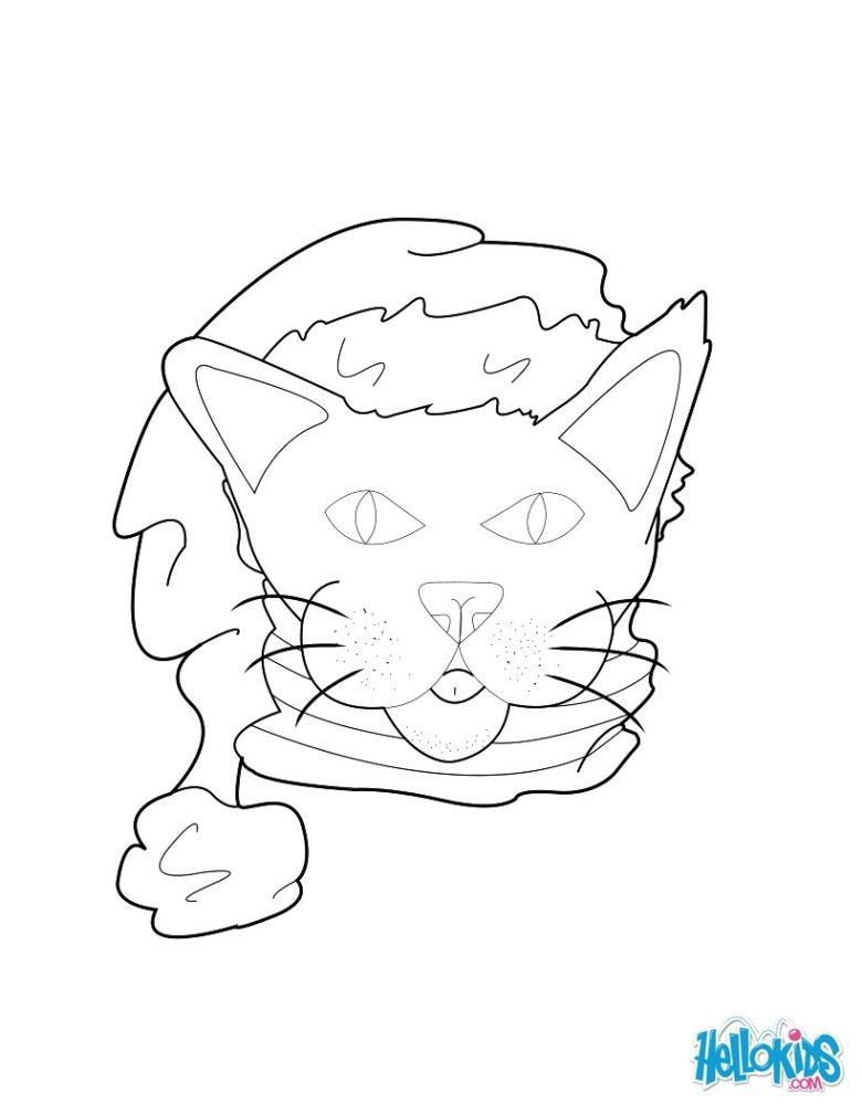 cat with santa hat coloring pages - hellokids