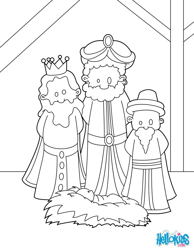 The three wise men at the manger coloring pages