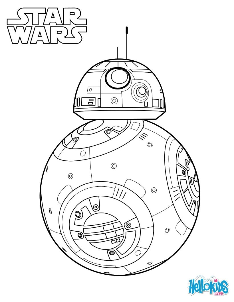 Bb 8 force awakens coloring pages hellokidscom, star wars robot bb8 drawing