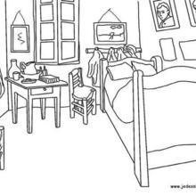 Van gogh s bedroom in arles france coloring pages Hellokids com