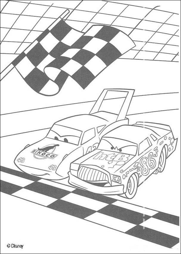 Racing between chick hicks and the king coloring pages