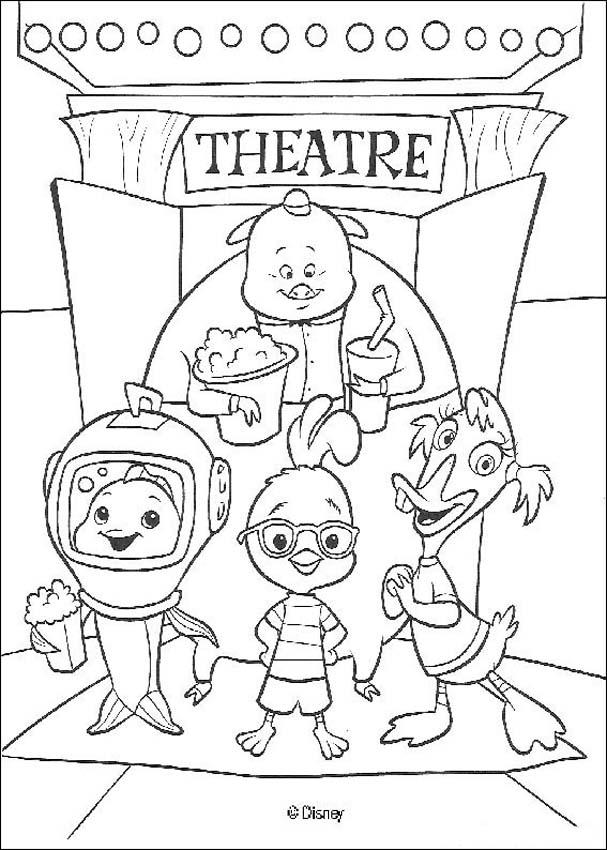 Chicken little and friends at the theater coloring pages