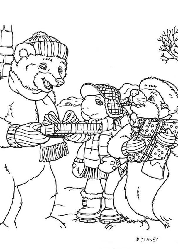 Franklin And Bear Celebrate Christmas Coloring Pages