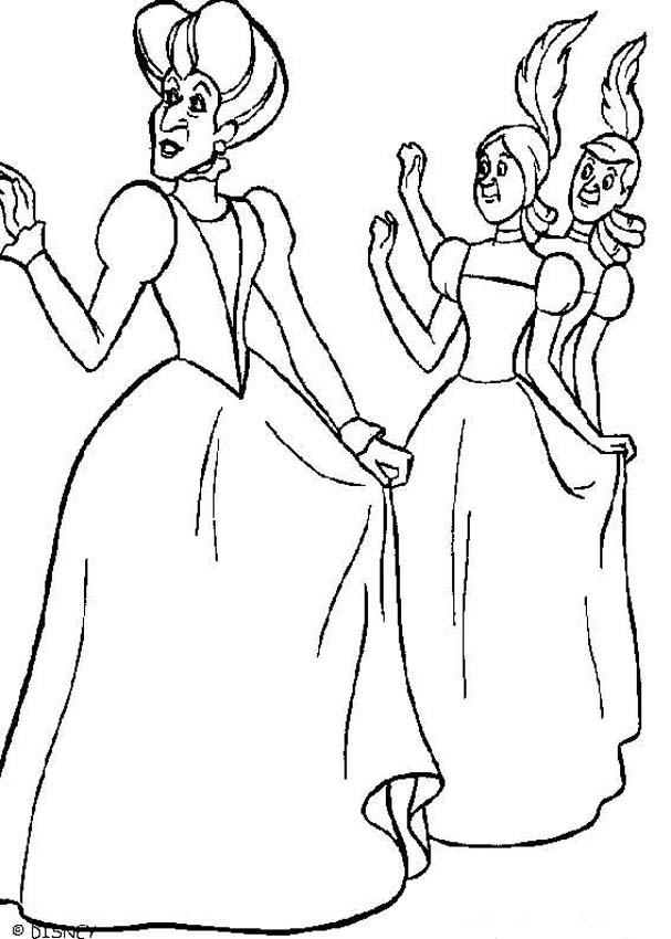 Cinderella's step mother and sisters coloring pages