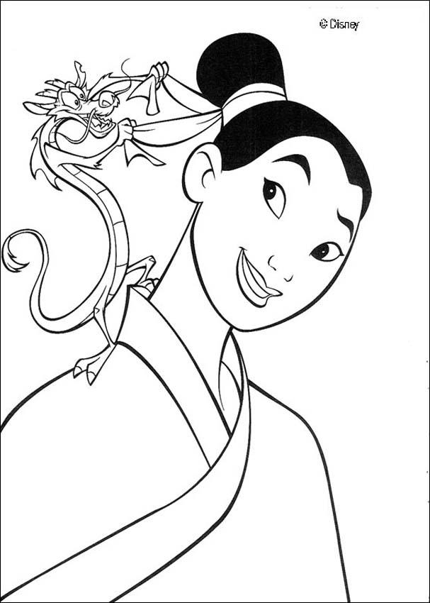 Fa mulan and her guardian mushu the dragon coloring pages