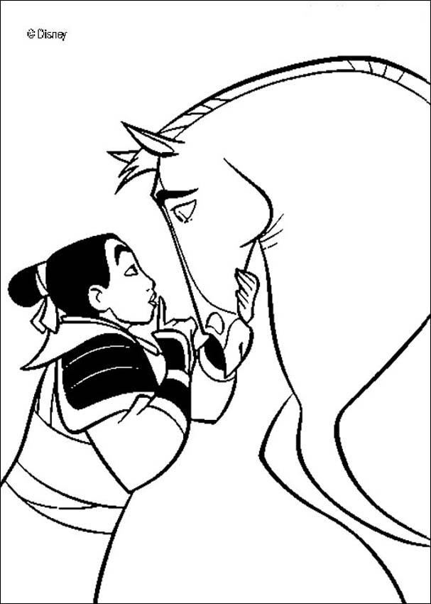 Mulan's handsome black stallion khan coloring pages