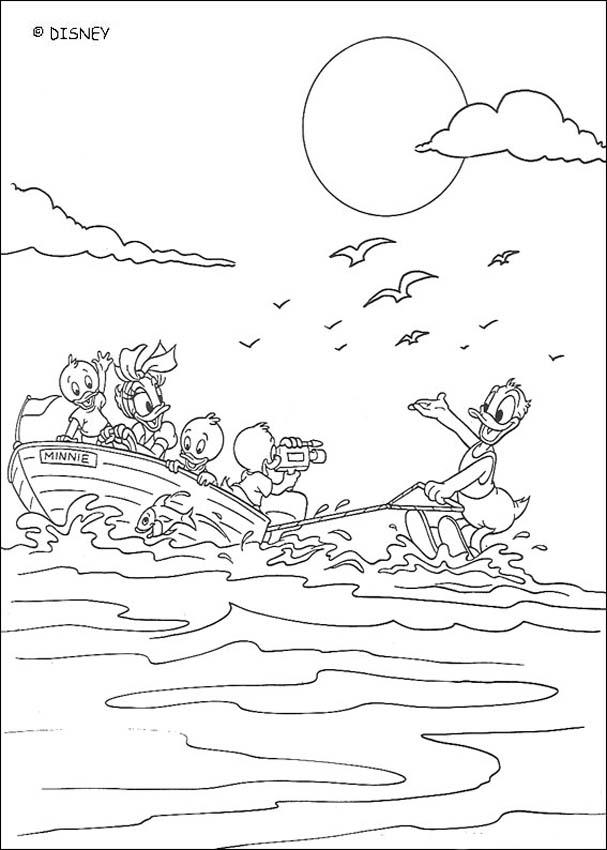 Donald duck is doing water-skiing coloring pages