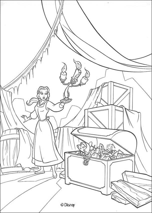 Belle discovers the christmas chest coloring pages