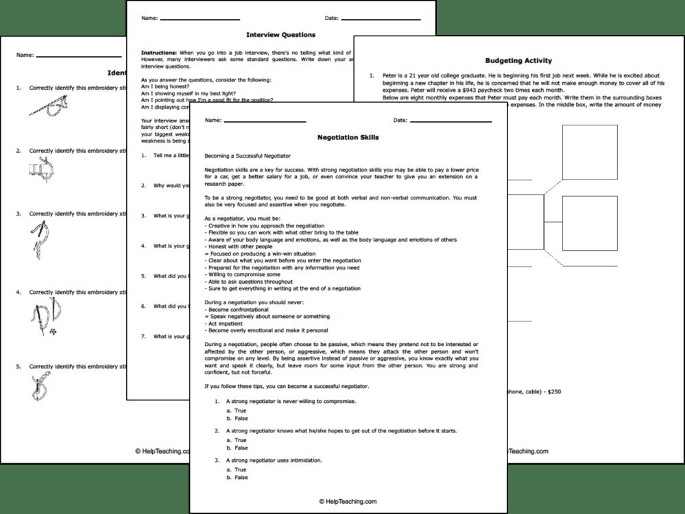 medium resolution of Free Life and Money Skills Worksheets