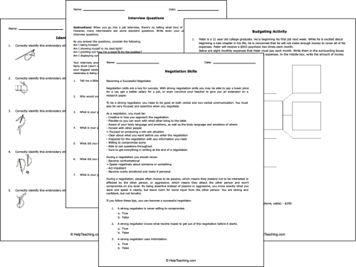 small resolution of Free Life and Money Skills Worksheets
