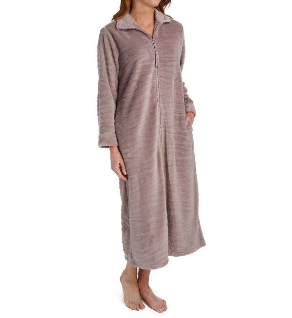 Elaine Plush Fleece Long Zip Robe 866545