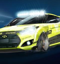 hyundai veloster turbo fondly name checks geopolitics with yellowcake sema edition [ 1600 x 885 Pixel ]