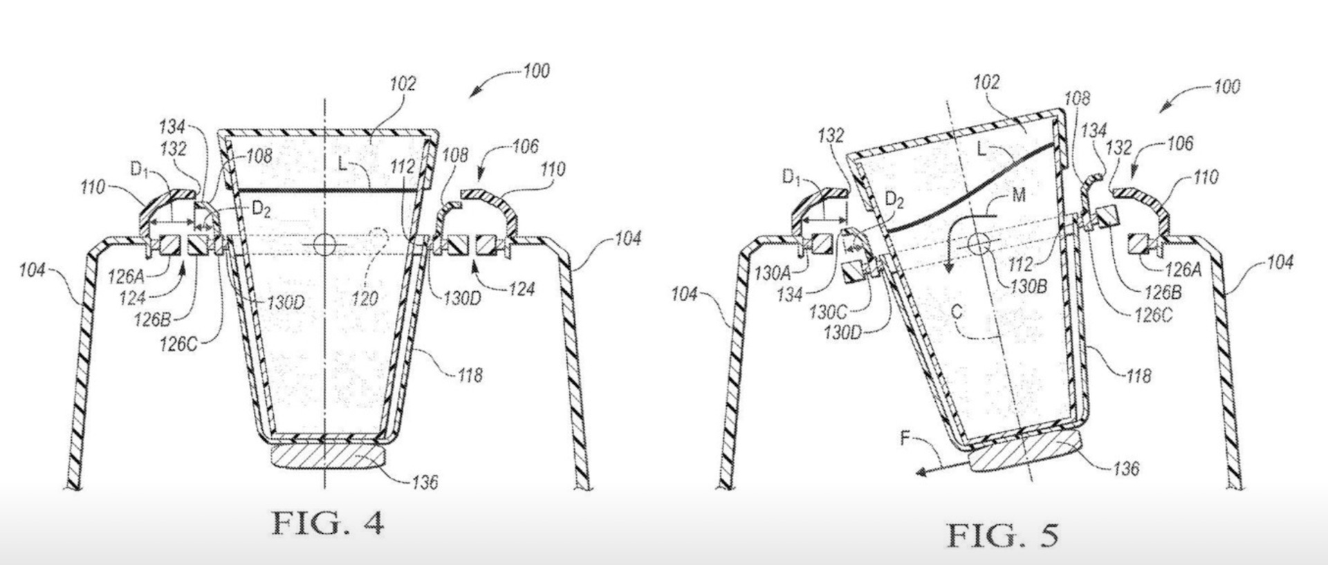 Ford patent shows self-leveling cupholder--no more spills