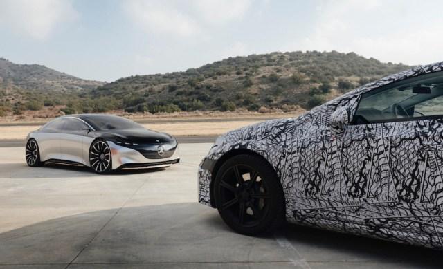 2022 prototipo Mercedes-Benz EQS y concepto Vision EQS