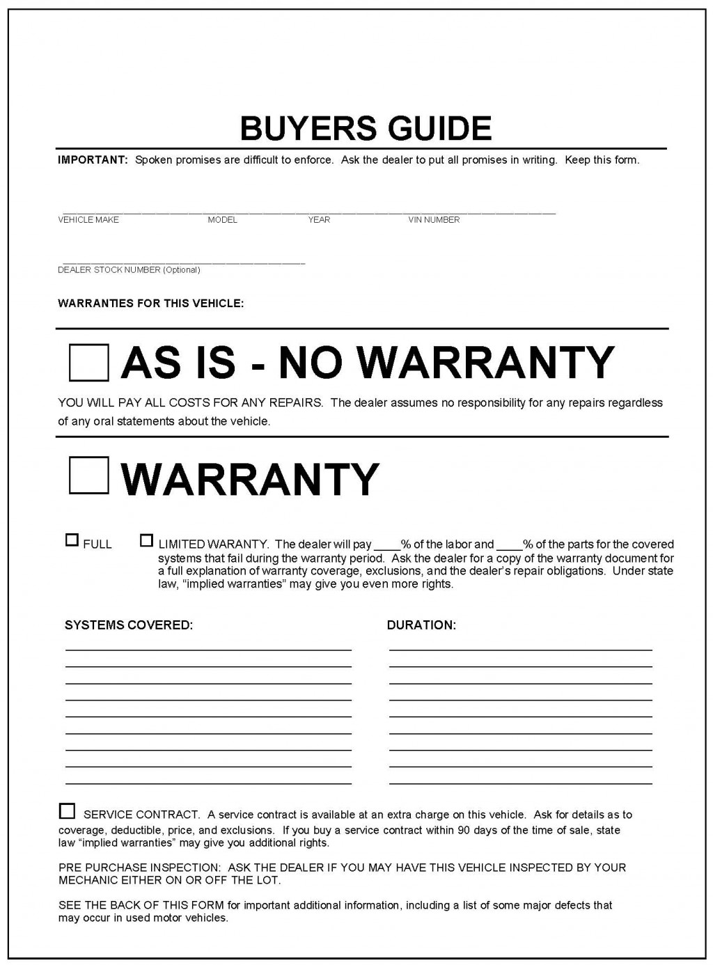 Vehicle Purchase Agreement 31 Template Birthday Invitations Sample Ftcs  Used Car Buyers Guide 100580431 L Vehicle