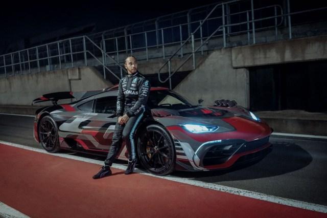 Lewis Hamilton with a Mercedes-Benz AMG One prototype