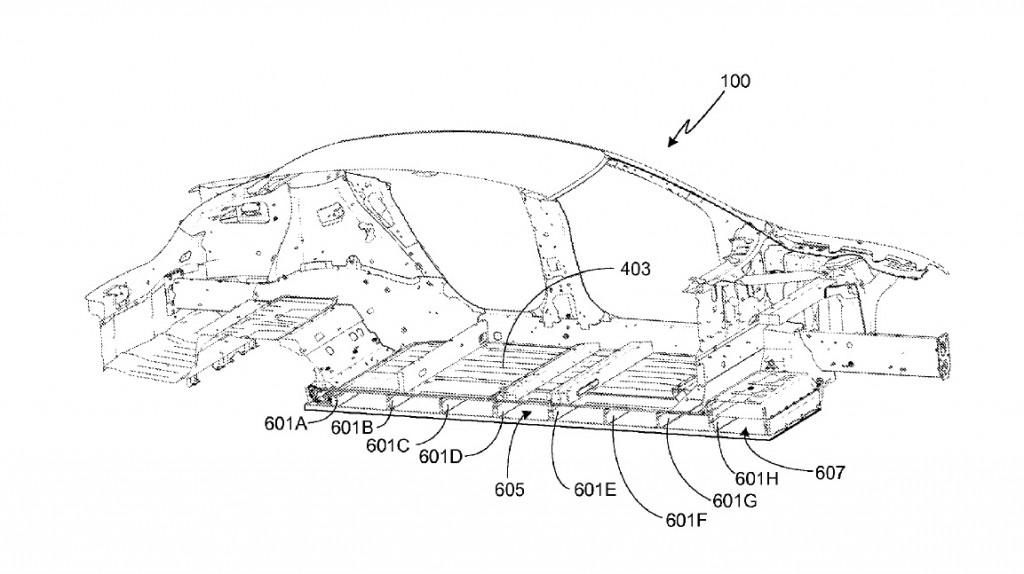 Image: Tesla Model S battery pack, from U.S. patent