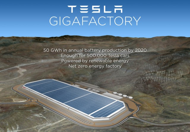 Computer-generated image of proposed Tesla Motors Gigafactory