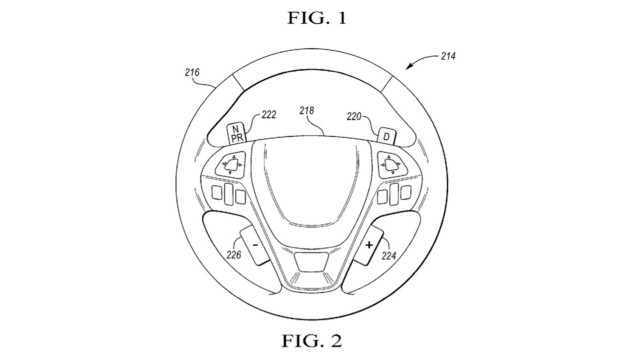Ford patents odd design for steering wheel-mounted gearshift