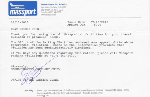 John Briggs green-car parking ticket dismissed