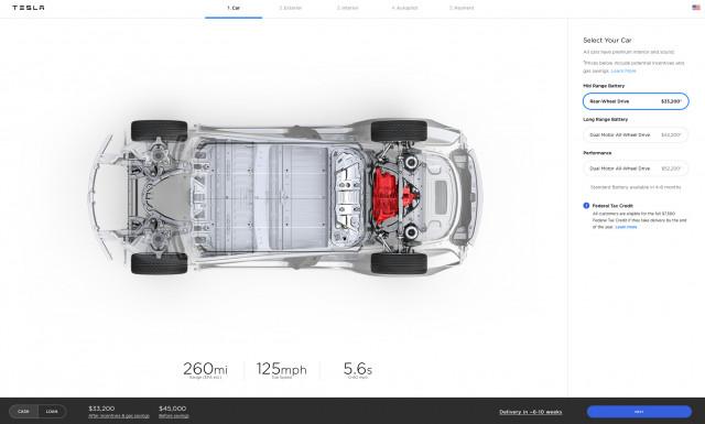 Tesla Model 3 Mid Range - on configurator Oct. 18, 2018