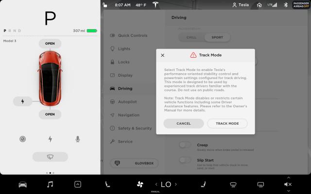 Tesla Model 3 Track Mode enable screen