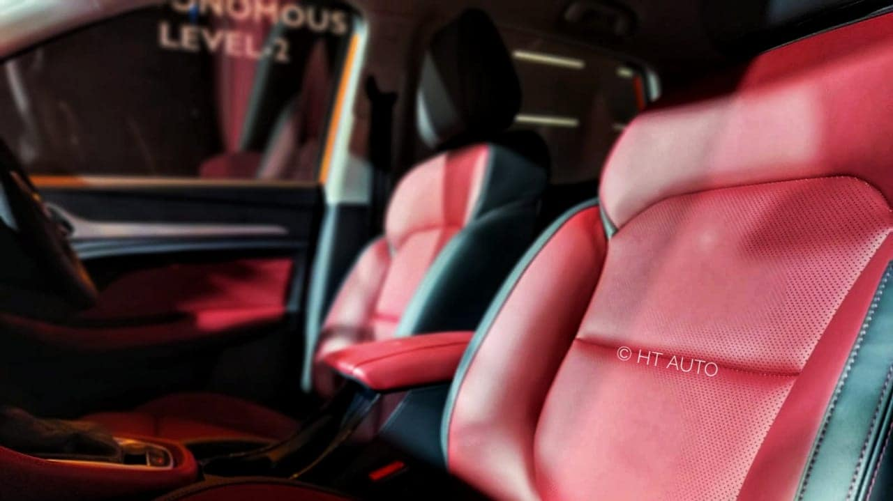 This is the Sangria Red colour option in the MG Astor. There are two other options that one may choose from as well.