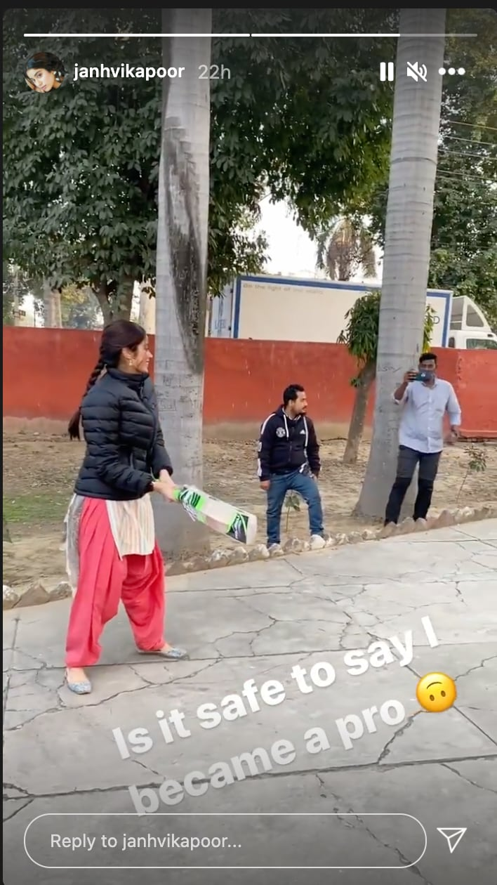 Janhvi Kapoor playing cricket in Patiala on Friday.