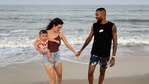 Actor Natasa Stankovic shared pictures from a beach trip to mark her son's 10 months birthday.