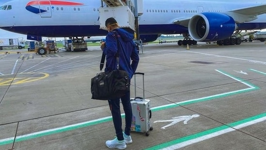 KL Rahul after landing in the UK(Twitter)
