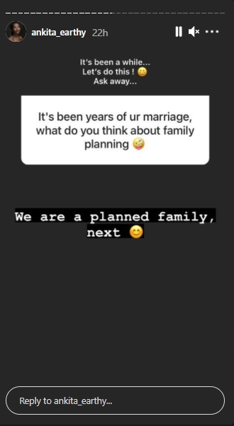 """Another fan asked, """"It's been years of ur marriage, wht do you think about family planning."""""""
