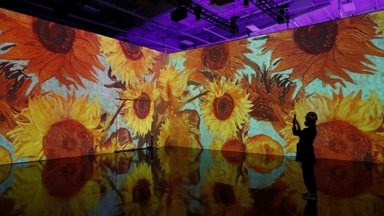 """The """"Immersive Van Gogh"""" featuring large-scale projections of works from Dutch artist Vincent van Gogh, is seen during a media preview in the Manhattan borough of New York City, U.S., May 26, 2021. (REUTERS)"""