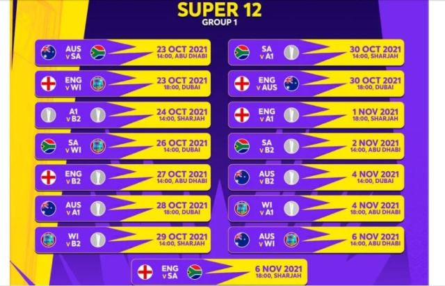 T20 World Cup 2021 schedule: Super12 Group 1