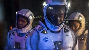 David Oyelowo, John Ortiz and Gugu Mbatha-Raw have nothing to do in The Cloverfield Paradox but scream and act scared.(Netflix)