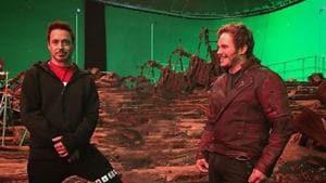Robert Downey Jr and Chris Pratt on the set of Avengers: Endgame.