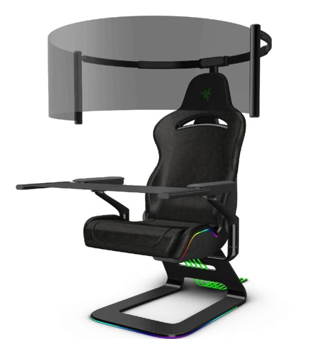 Razer's Project Brooklyn - the gaming chair with a rollout 60-inch display.